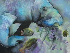 """""""Manatee"""" 35 x 48 inches.  Batik silk painting with pieced painted silk organza, by Pamela Glose.  Subscribe to her blog for free monthly tips on silk painting at www.MySilkArt.com"""