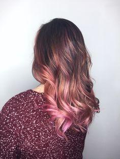 Dusty Rose Babylights + Balayage ✨ Www.strandsofdetroit.com #rosehair #hair #hairgoals