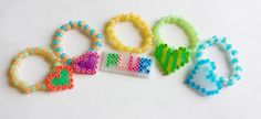 Set of 5 Glow in the Dark Perler Charm Kandi Singles