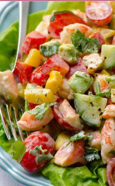 Greek Yogurt, Shrimp, Avocado and Tomato Salad - mmmm!