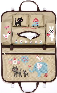 blue striped car bag with animals cat elephant Japan 9