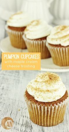The absolute best pumpkin spice cupcakes from scratch with a delicious cream cheese frosting. The best pumpkin spice cupcakes you've ever tasted coupled with a delicious cinnamon cream cheese frosting to really take the flavor over the top. Snickerdoodle Cupcakes, Pumpkin Spice Cupcakes, Eggnog Cupcakes, Paleo Cupcakes, Pumpkin Snickerdoodles, Vanilla Cupcakes, Frosting Recipes, Cupcake Recipes, Gastronomia