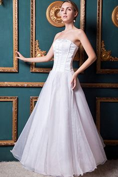 Ivory Tulle Strapless Bridal Dress - Order Link: http://www.theweddingdresses.com/ivory-tulle-strapless-bridal-dress-twdn0231.html - Embellishments: Ruffles; Length: Ankle Length; Fabric: Tulle; Waist: Natural - Price: 155.59USD