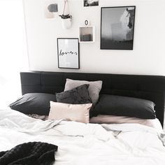 Cosy Scandinavian style master bedroom gallery wall, featuring Yorkelee prints 'Spirit Scandi Horse' print & 'Lovers' hand scripted art print. Style & Pic by @yorkelee_prints
