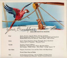 Parakeet & Puppy Jan Lavies Vintage Cruise Ship Menu