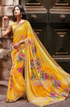 Laxmipati Georgette Designer Printed Saree in Yellow colour Pakistan Fashion, India Fashion, Saree Fashion, Women's Fashion, Indian Dresses, Indian Outfits, Indian Saris, Indian Clothes, Yellow Saree