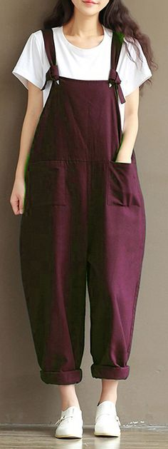 US$21.52 + Free shipping. Size: S~5XL. Color: Black, Coffee, Khaki, Navy, Beige, Gray, Green, Purple. Fall in love with casual and cute style! Casual Women Loose Strap Pocket Jumpsuit Trousers.