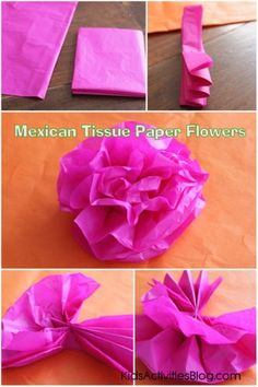 Make some Mexican paper flowers for Cinco de Mayo. Celebrate Mexican heritage and pride with this tissue paper flowers tutorial! Mexican Paper Flowers, Paper Flowers For Kids, Mexican Crafts Kids, Sombrero Cookies, Latin Decor, Italian Lessons, Heritage Crafts, Hispanic Heritage, World Crafts