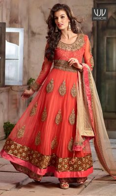 Bedazzling Peach, Black, Red, Cream, Turquoise and Blue Net Wedding Designer Anarkali Suit  Bedazzling Peach, Black, Red, Cream, Turquoise and Blue Net Wedding Designer Anarkali Suit designed with zari, stone and patch border work. Available with santoon bottom and faux chiffon dupatta.