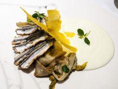 crema-di-burrata-scarola-alla-partenopea-alici-fritte-e-cialda-di-polenta-#Cannavacciuolo Café#Bistrot#