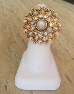 Indian Bollywood Glamorous Ring, semi precious stones, kundan, bridal, finger ring, adjustable