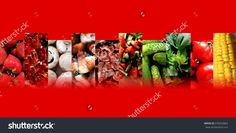 #Strawberries, redcurrants, #mushrooms, #fried #meat, slices of brawn, simple #salad, cucumbers, #celery leaves, #tomatoes and #corn on the cob inside ten #fading #rectangles, all arranged in zigzag