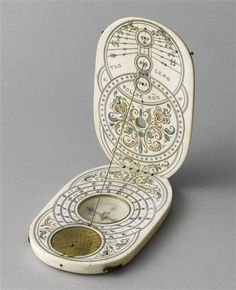 Nurnberg diptych sundial from 1600s capable of operating between 42 and 54 degrees of latitude. The brass insert is a mystery: Possibly an annalematic sundial to allow orientation without compass. Currently in Louvre.