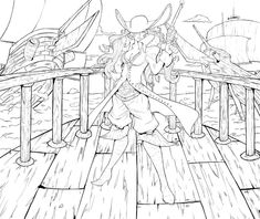 I finally finished the line art! Colors will be posted soon! Color this if you're brave enough, but be sure to credit me as the original artist, and sen. Line art: Ruby Heart Colouring Pages, Adult Coloring Pages, Images Pirates, Elf Ranger, Sword And Sorcery, Zen Doodle, Spring Is Here, Female Characters, Color Inspiration