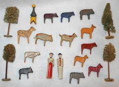 "Antique Erzgebirge Putz Wood Farm Animals 2 5"" People Loofah Trees | eBay"