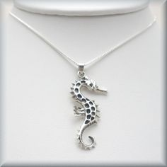 Seahorse Necklace Sterling Silver Pendant Sea Horse Jewelry Ocean Animal Creature (SN667). $24.00, via Etsy.