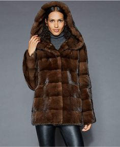 e81df61f75f The Fur Vault Hooded Mink Fur Jacket Mink Fur