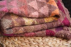 Your place to buy and sell all things handmade Triangle Pattern, Sheep Wool, Hand Spinning, Wool Blanket, Signature Style, Deep Purple, Handmade Art, Rainbow Colors, Hand Knitting