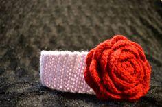 Flower Headband headband with rose baby by CrochetByAshlee on Etsy