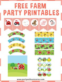 Are you planning a Farm birthday Party? Download this free set of Farm Party Printables to use at your event. The Set includes Farm Waterbottle Labels, Farm Napkin wrappers, Farm Banner, Farm Cupcake Toppers, Farm Cupcake Wrappers, Farm Chocolate Bar Wrappers. #farmparty #farmtheme Farm Party Games, Girls Birthday Party Games, Birthday Activities, Birthday Banners, Birthday Ideas, Farm Animal Party, Farm Animal Birthday, Farm Birthday, Farm Cupcake Toppers
