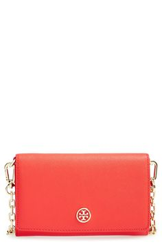 This coral Tory Burch chain wallet is perfect for spring!