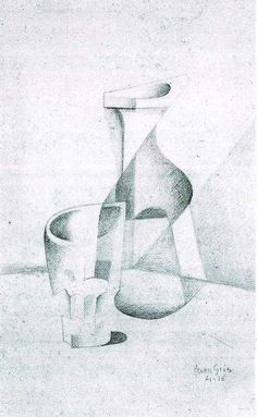 juan gris - caraffe and glass Cubist Artists, Cubism Art, Spanish Painters, Spanish Artists, Abstract Drawings, Art Drawings, Synthetic Cubism, Jr Art, Still Life Drawing