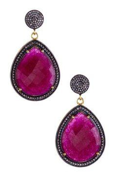 Ruby & Champagne Diamond Teardrop Dangle Earrings