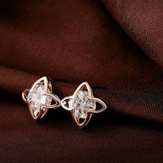 Stud earrings Cristal flor zirconia Stud pendientes de moda de boda 18 k oro plateado aniversario regalo de la joyer?a para mujeres. Jewelry Earrings