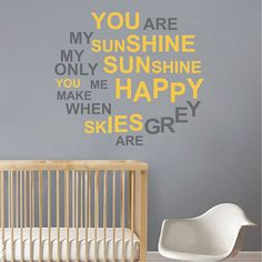 You Are My Sunshine Decal by TrendyWall Designs - Add a cheerful wall decal to child's room, main room, or anywhere where a smile is welcomed. #yellow #walldecal #homedecor #funkthishouse