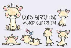 Prime Vector Clipart Kawaii girafes par LookLookPrettyPaper