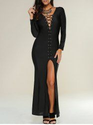 SHARE & Get it FREE | Plunging Neckline Lace Up Maxi Slit DressFor Fashion Lovers only:80,000+ Items • New Arrivals Daily • Affordable Casual to Chic for Every Occasion Join Sammydress: Get YOUR $50 NOW!