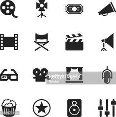 Vektorgrafik : Film Industry Silhouette Icons