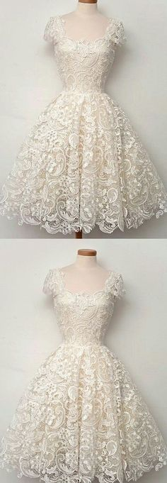 Prom Dresses Lace, Lace Homecoming Dresses, Ivory Lace dresses, Short Party Dresses, Mini Party Dresses, Cap Sleeve Homecoming Dresses by DestinyDress, $145.00 USD