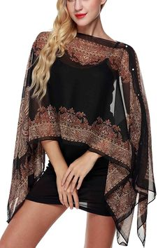 Women's Clothing, Tops & Tees, Tunics, Womens Paisley Print Chiffon Poncho Batwing Sleeve Tunic Top - Black - Source by clothes tops Hijab Fashion, Fashion Outfits, Casual Outfits, Fashion Trends, Diy Clothes, Clothes For Women, Latest Fashion For Women, Womens Fashion, Chiffon Shawl