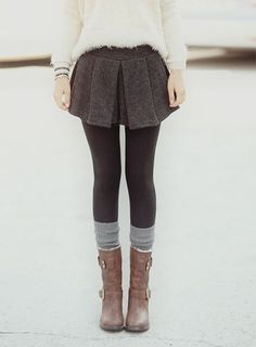 Cute way to wear a skirt in winter