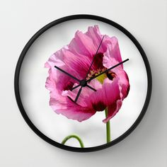 Papaver Wall Clock by JUSTART on Society6 #justart #society6 #wallclock #clock #home #decor #papaver #floral #flower #pink #white #summer