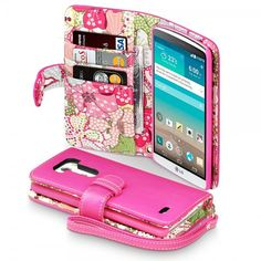 Hot Pink PU Leather Wallet Case for LG G3 with Lily Floral Interior