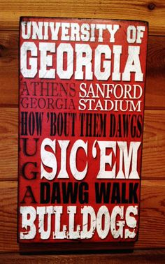 University of Georgia Bulldogs LARGE Distressed Wood by SignNiche, $38.00