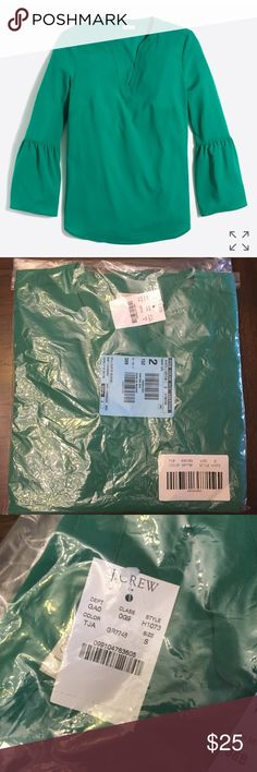 J. Crew Bell Sleeve Top in Tawny Jade Green Ordered online and can't return so my loss is your gain! BNWT, still in package. Gorgeous tawny jade green bell-sleeve top from J. Crew Factory. Size small. Make an offer! J. Crew Tops Blouses