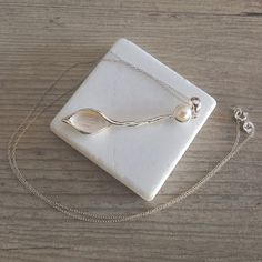 Pearl Necklace, Long Sterling Silver Leaf Pendant, Pearl Anniversary June Birthstone Pearl Gift Idea, Pearl Jewelry, Santorini Pearl Wedding