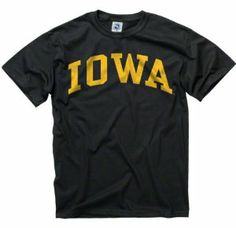 Iowa Hawkeyes Black Arch T-Shirt by New Agenda. $12.99. Basic crew neck. 100% Cotton. Lightweight rib knit t-shirt. For a roomier fit, please order one size up. Officially licensed. Whether you are cheering your team on at the stadium or just strolling around campus make sure you are oozing with team spirit. Show your team pride than with this Iowa Hawkeyes Black Arch T-Shirt! This comfy shirt features screen print graphics of team logo and wordmark, not to ment...