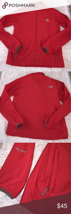 Men's North Face Zip Up Excellent condition! Color is red and grey. Size L. Feel free to ask any questions! No trades sorry, & offers thru offer button only! If it is listed as for sale, IT IS AVAILABLE! 😊 North Face Jackets & Coats