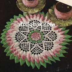 Free sunburst rose crochet doily pattern