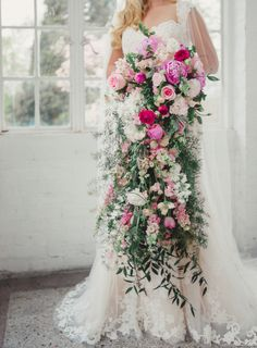 Pink and Greenery Cascading Bouquet By L.B Floral | photography by http://jophotoonline.com/