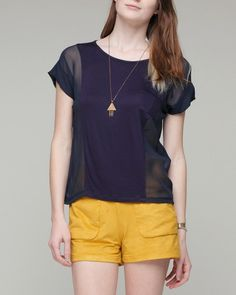 one pocket top & triangle jewelry with coral shorts?