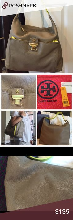 Tory Burch Rachel Hobo Bucket Leather Bag Looking for love and a new home... Looking for a new shoulder to hang onto, or a hand to hold. I am pre-owned but well-loved. I have a few marks to prove it (small discoloration on inside lining, back wall; a pen mark on back). But I'm still looking for more adventures to have. I am not a poser: I have tags and invoice (from hautelook). And I come with my own sleeping bag (aka dust bag). I am taupe with yellow accents, gold-toned hardware. I am very…