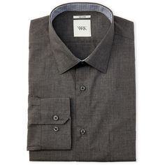 Wrk Charcoal Heather Dress Shirt ($17) ❤ liked on Polyvore featuring men's fashion, men's clothing, men's shirts, men's dress shirts, grey, mens dress shirts, mens grey button up shirt, mens button shirts, mens gray button down shirt and mens cotton shirts