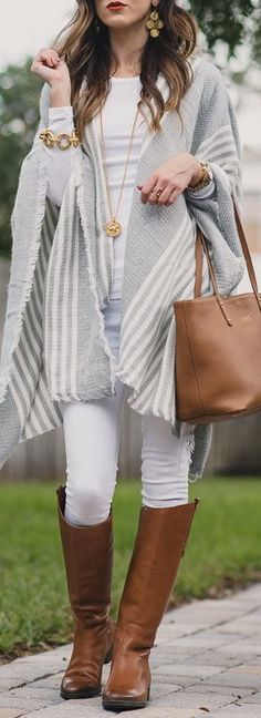 casual outfit : grey poncho + white top + skinny pants + bag + high boots
