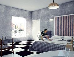 """Check out new work on my @Behance portfolio: """"Bedroom in Hotel, CA"""" http://be.net/gallery/44254277/Bedroom-in-Hotel-CA"""