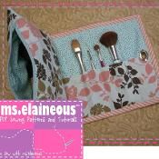 Cosmetic Bag with Brush Roll - via @Craftsy